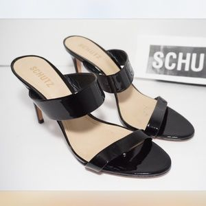 SCHUTZ High Heels Sandals Black Patent Leather